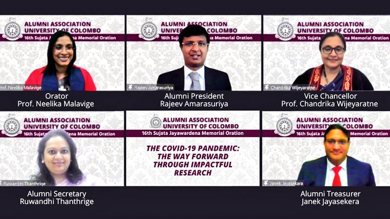 (From L to R) (1st row) Orator Prof. Neelika Malavige, Alumni President Rajeev Amarasuriya, Vice Chancellor Senior Prof. Chandrika N. Wijeyaratne,  (2nd row) Alumni Secretary Ruwandhi Thanthrige and Alumni Treasurer Janek Jayasekera