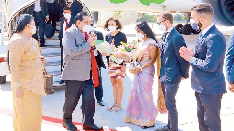 Sri Lankan Embassy and Italian officials welcome Prime Minister Mahinda Rajapaksa and Madam Shiranthi Rajapaksa at the Guglielmo Marconi International Airport in Bologna, Italy on Friday. During his state visit, the Premier will deliver the keynote address at the Inaugural Session of the G20 Interfaith Forum Italy-2021 which will commence in Bologna, Italy today, September 12. The Prime Minister's visit will also include several other high-level diplomatic meetings.