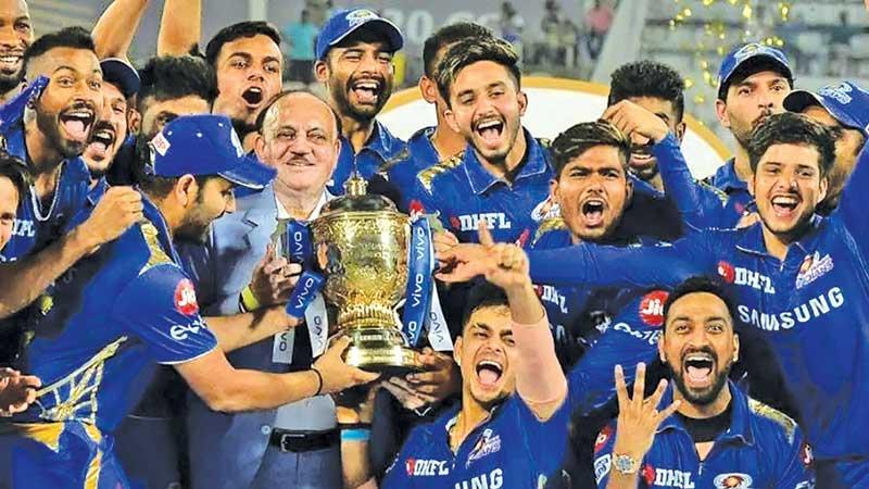 The Mumbai Indians celebrate the IPL they won in 2020
