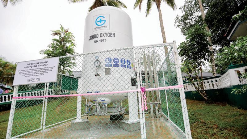 The 3,000-litre oxygen tank donated byBodyline.