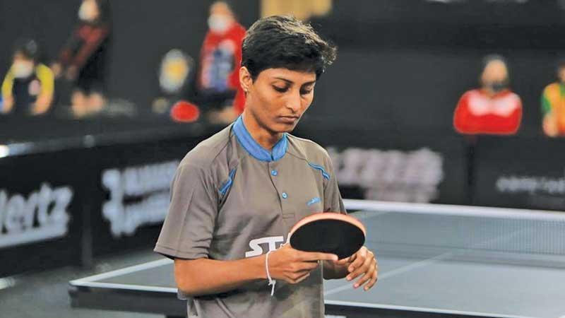 Muthumali Priyadarshani about to serve in a match